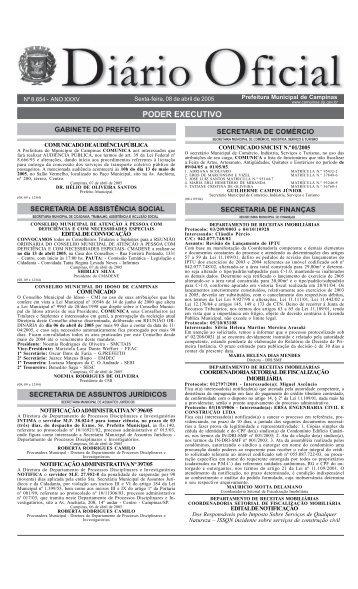 Sexta-feira, 08 de abril de 2005 Prefeitura Municipal de Campinas ...