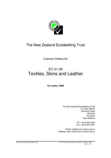 Textiles, Skins and Leather - Environmental Choice New Zealand