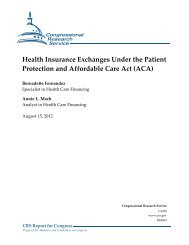 Health Insurance Exchanges Under the Patient Protection and ...
