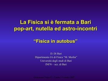 La Fisica si è fermata a Bari pop-art, nutella ed astro-incontri