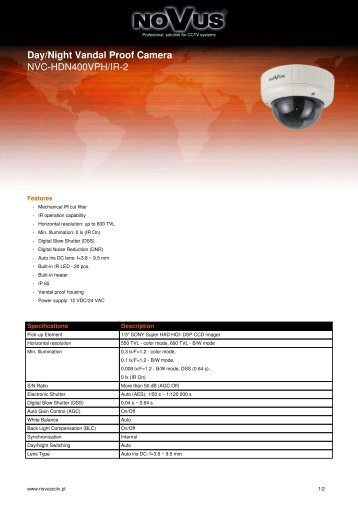 Day/Night Vandal Proof Camera NVC-HDN400VPH/IR-2