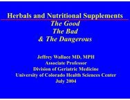 Herbals and Nutritional Supplements The Good The Bad & The ...