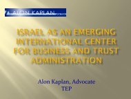 Israel as an emerging international center for business and trust ...