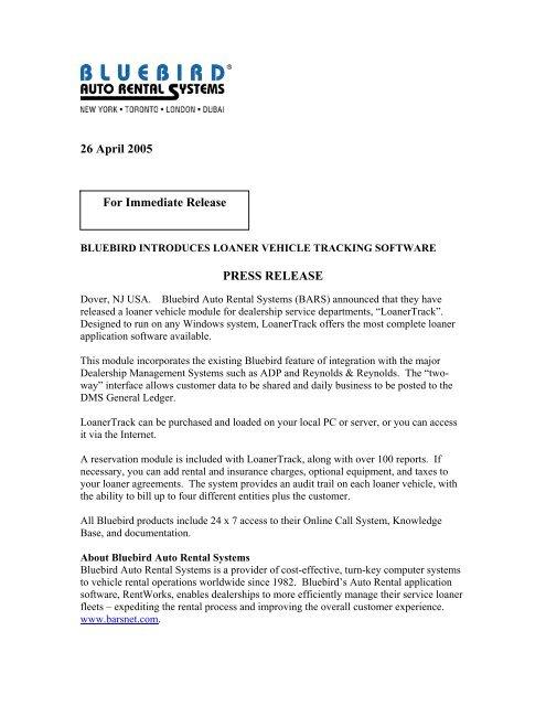 Bluebird Introduces LoanerTrack - Bluebird Auto Rental Systems