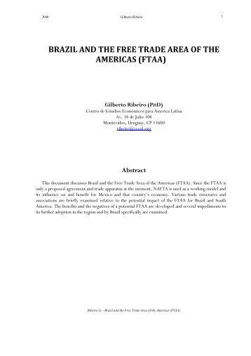 a study of the free trade of americas ftaa The free trade area of the americas: us interests and objectives  to complete negotiations on a free trade area of the americas (ftaa)  study and discussion of.