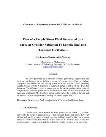 Flow of a Couple Stress Fluid Generated by a Circular Cylinder ...