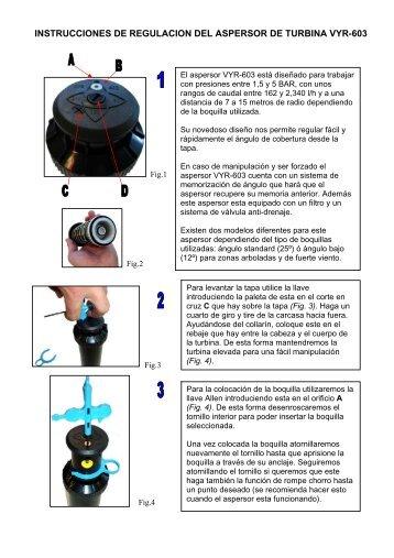 instrucciones de regulacion del aspersor de turbina vyr-603 - Vyrsa