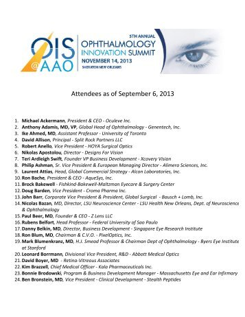 See Who's Attending - Ophthalmology Innovation Summit (OIS)