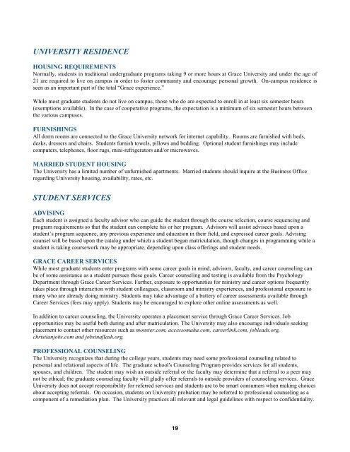 Graduate Catalog - Grace University