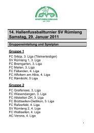 Gruppeneinteilung und Spielplan - Sportverein Rümlang