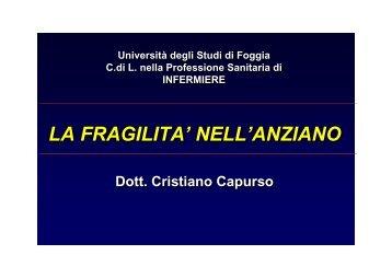 la fragilita - Medicina e chirurgia - Università degli Studi di Foggia