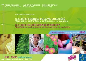 Invitation à participation au colloque sciences de la vie ... - Genopole