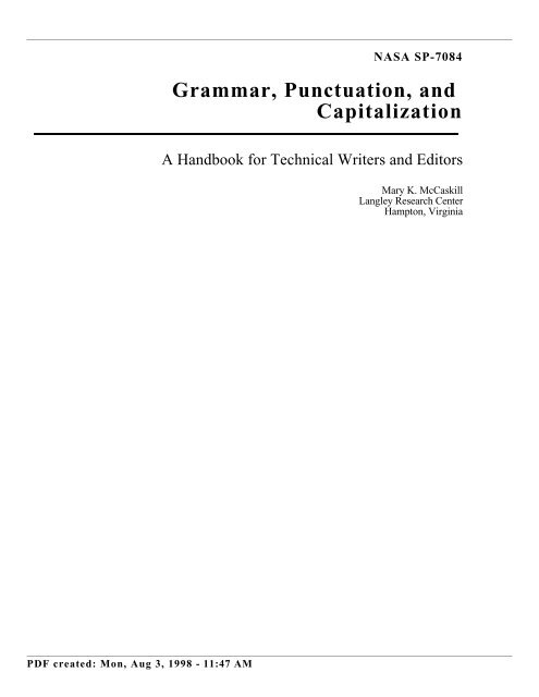 Grammar, Punctuation and Capitalization - Handbook for Technical ...