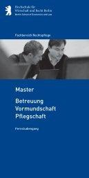 Betreuung Vormundschaft Pflegschaft Master - Master-Vergleich