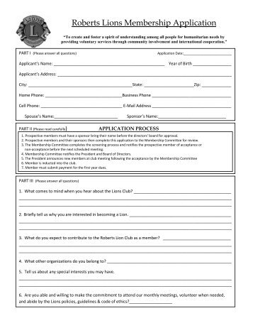 Roberts Lions Membership Application - Roberts Lions Club