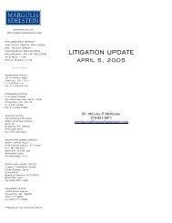 LITIGATION UPDATE - Margolis Edelstein
