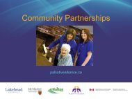 Community Partnerships - Quality Palliative Care in Long Term Care
