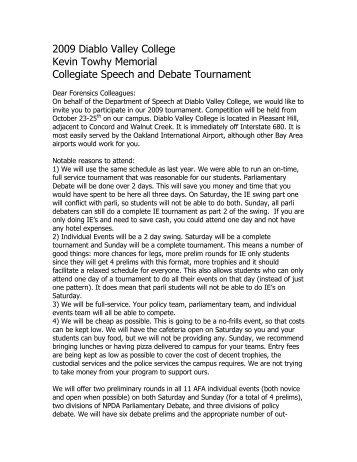 2009 Diablo Valley College Kevin Towhy Memorial Collegiate ...