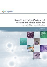 Evaluation of Biology, Medicine and Health Research in Norway ...