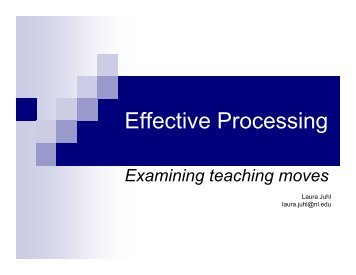 Effective Processing - Reading Recovery Council of North America