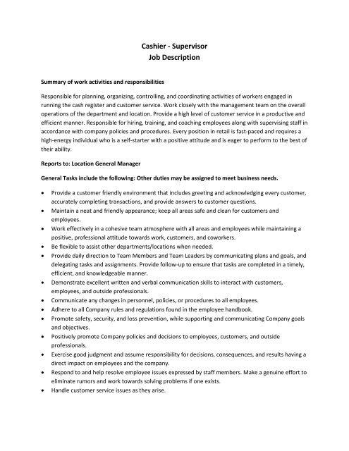 Cashier Supervisor Job Description Bordine S