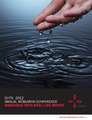 Conference Evaluation Summary - OHTN Research Conference