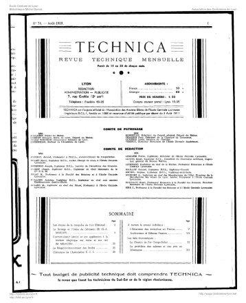 Revue Technica, année 1939, numéro 78 - Histoire de l'École ...
