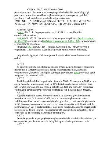 ORDIN Nr. 71 din 15 martie 2004 pentru aprobarea Normelor - NAMR