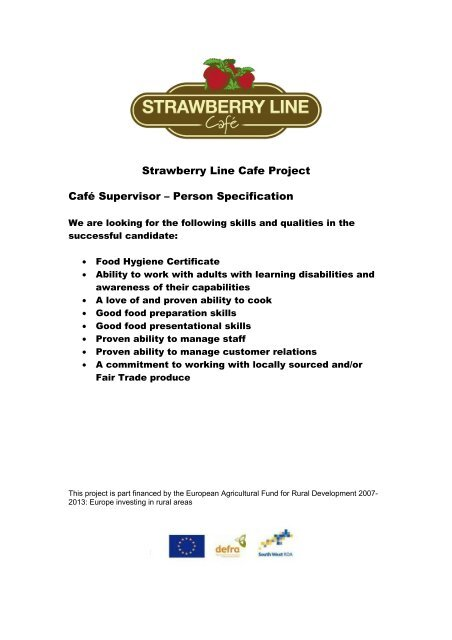 Cafã Manager â Person Specification The Strawberry Line