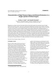 Characteristics of High Pressure Spray and Exhaust Emissions in a ...
