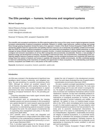 The Ellis paradigm — humans, herbivores and rangeland systems