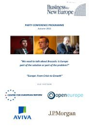 PARTY CONFERENCE PROGRAMME - Business for New Europe