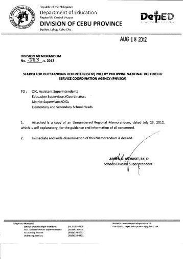 Memo No. 383, S. 2012 - DepEd Cebu Province