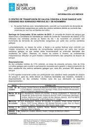 O CENTRO DE TRANSFUSIÓN DE GALICIA CONVIDA A ... - Sergas