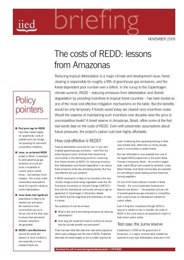 The costs of REDD - IIED pubs - International Institute for ...