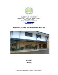 DWU Regulations for higher degrees by research - Divine Word ...