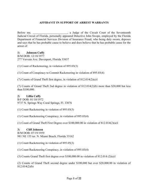 Page 1 of 22 AFFIDAVIT IN SUPPORT OF ARREST WARRANTS ...