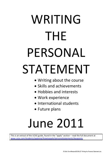 Writing the Personal Statement - Thomas Adams School