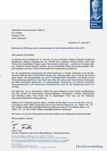 Gütersloh, 21. April 2011 Bertelsmann Stiftung sucht ... - gsv1906.de