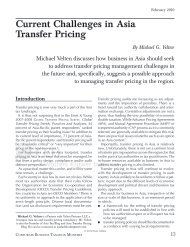 Current Challenges in Asia Transfer Pricing - CCH