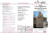 Forum IT Service Management öffentlichen Verwaltung - FIT-öV