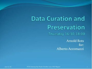 Data Curation and Preservation Thursday 16:30-18:00 - IVOA