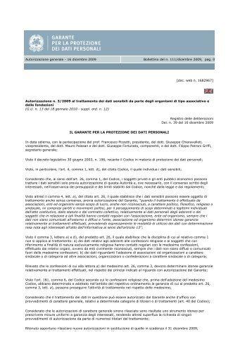 Autorizzazione generale garante privacy (pdf 98 kb)