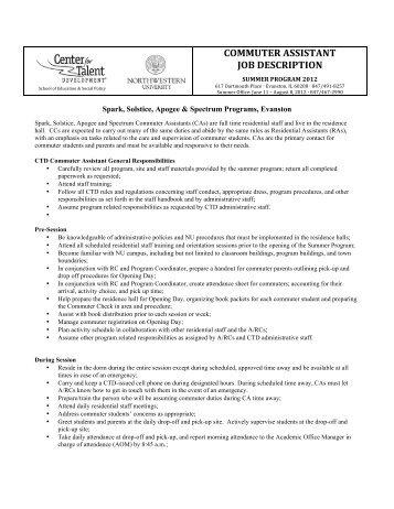 12 Commuter Assistant Job Description Final
