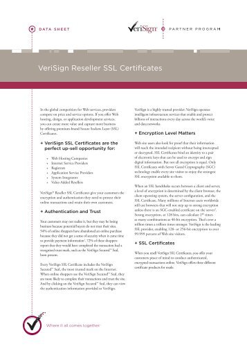 VeriSign Reseller SSL Certificates