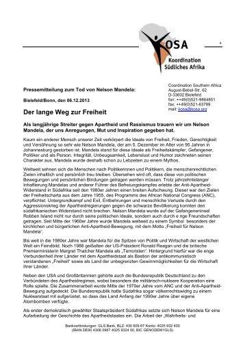 Pressemitteilung der KOSA zum Tode von Nelson Mandela