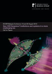 New CSR Dynamics? - The University of Nottingham, Malaysia ...