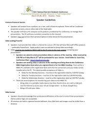 Speaker Guidelines - National Nutrient Databank Conference