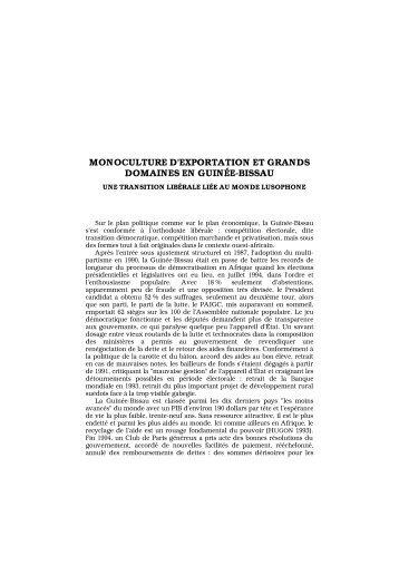 monoculture d'exportation et grands domaines en ... - Lusotopie