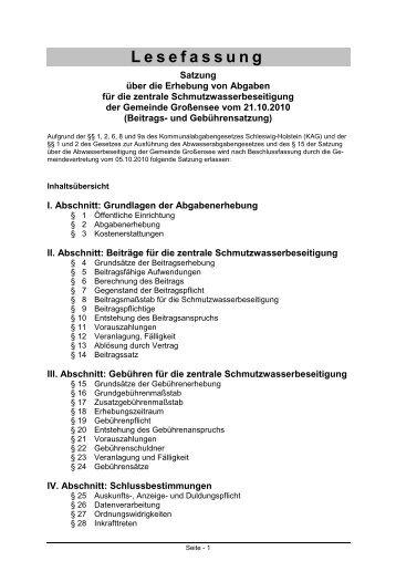 Abwasser Beitrags - Gemeinde Großensee